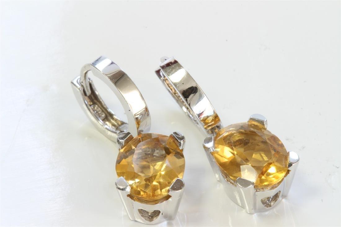 14K WHITE GOLD EARRING:5.7g/Diamond:0ct/Citrine:4.22ct