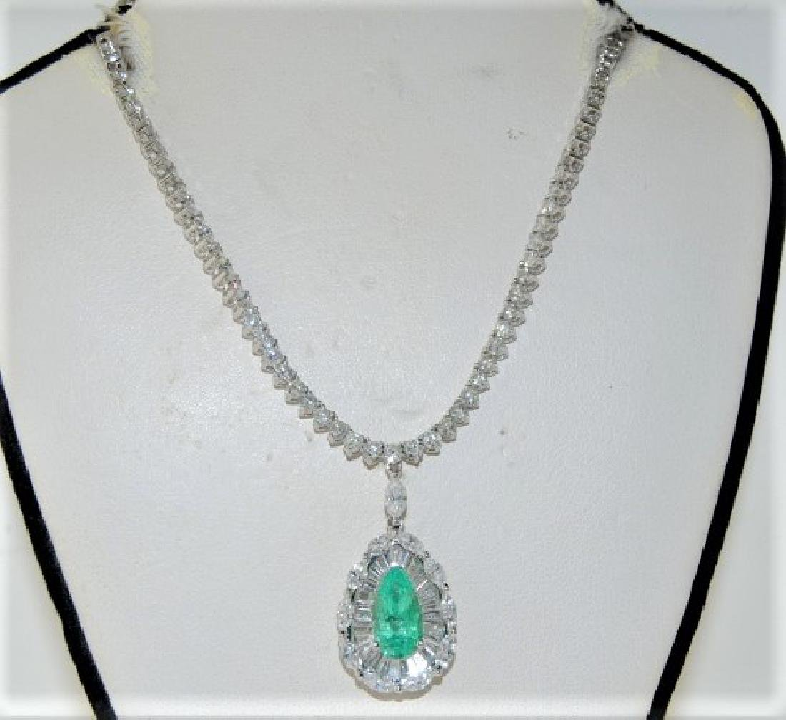 2.63ct Emerald 18K White Gold 23.50gm Necklace