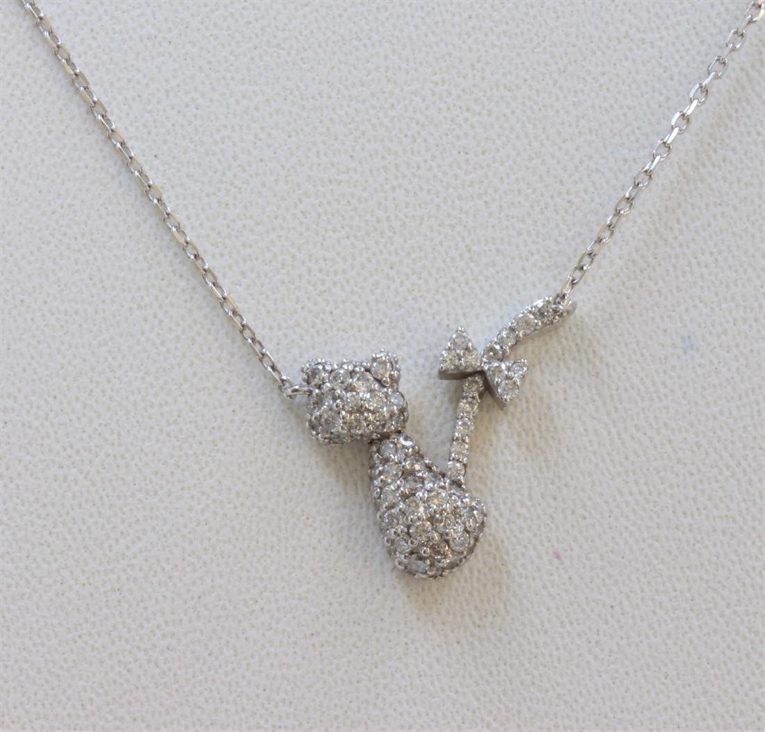 14K WHITE GOLD CAT PENDANT WITH CHAIN