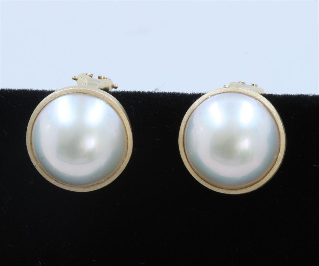 14K Yellow Gold Pearl Earring:6.9g/Pearl