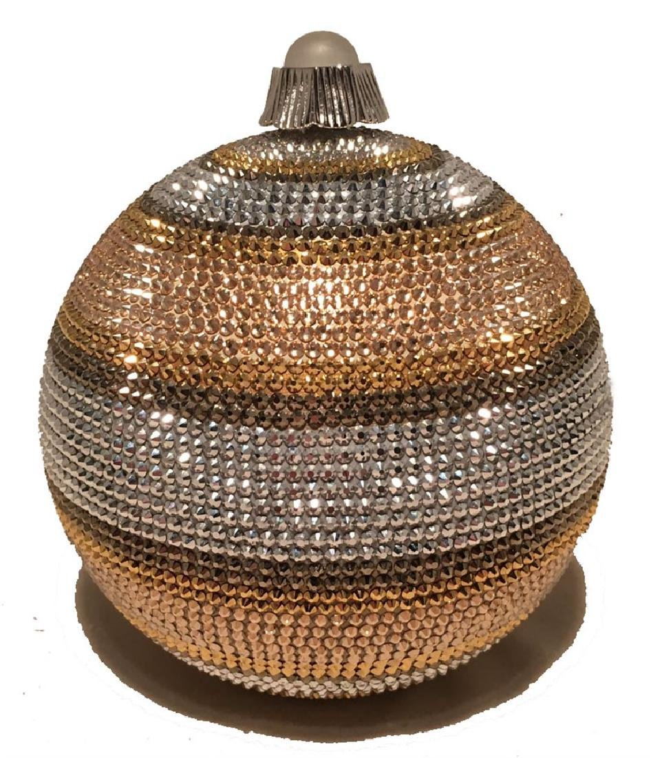 Judith Leiber Swarovski Crystal Striped Ball Minaudiere