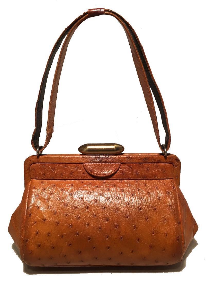 Vintage Deutsch Tan Ostrich Handbag