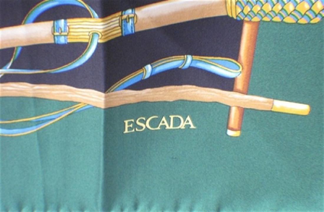 Escada Vintage Green Canes Silk Scarf - 2
