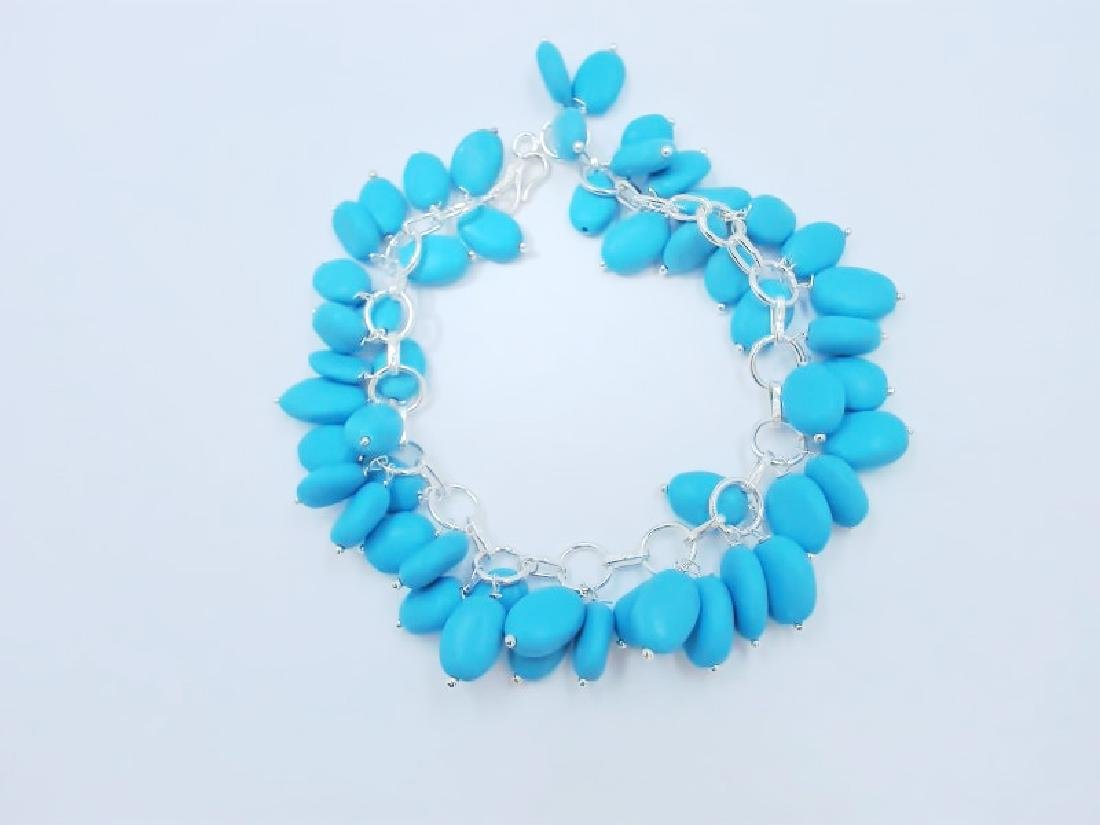 21.94gm Silver & Natural Gemstone Bracelet