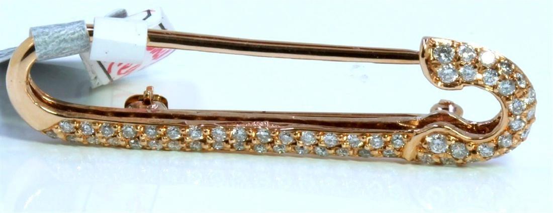 14K ROSE GOLD BROOCH 3.30GRAM  DIAMOND 0.45CT