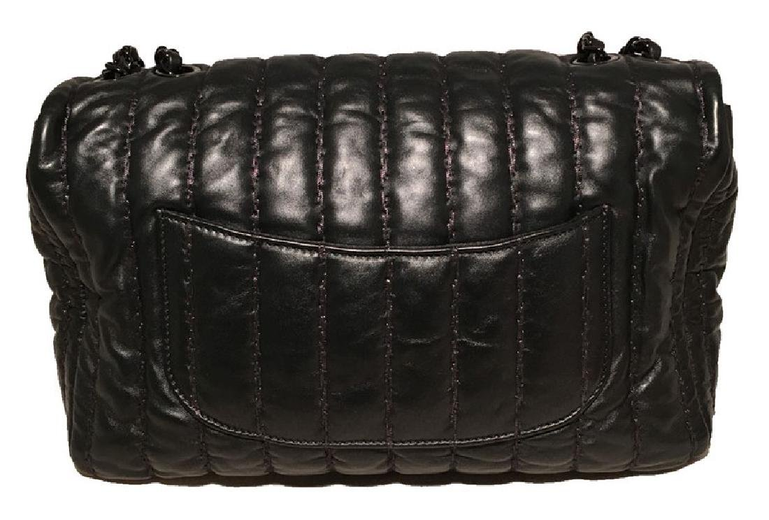 RARE Chanel Black Shimmery Leather Striped Quilted - 3