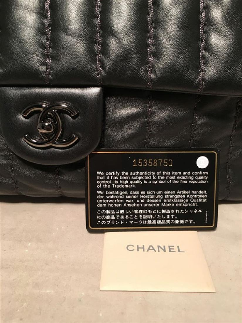 RARE Chanel Black Shimmery Leather Striped Quilted - 5