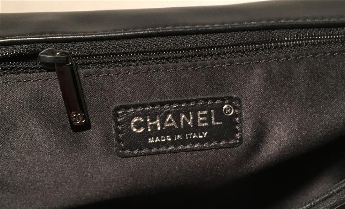 RARE Chanel Black Shimmery Leather Striped Quilted - 7