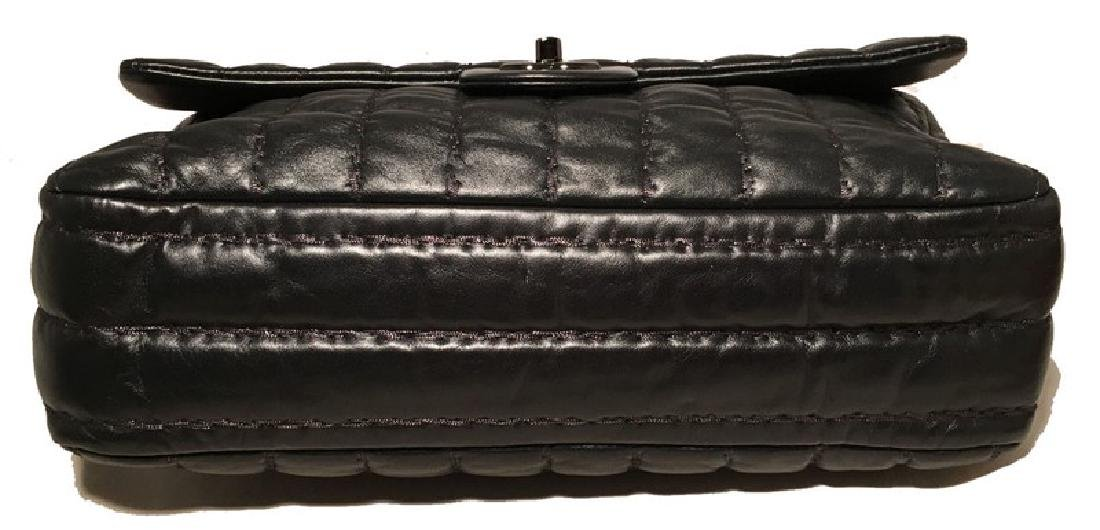 RARE Chanel Black Shimmery Leather Striped Quilted - 8