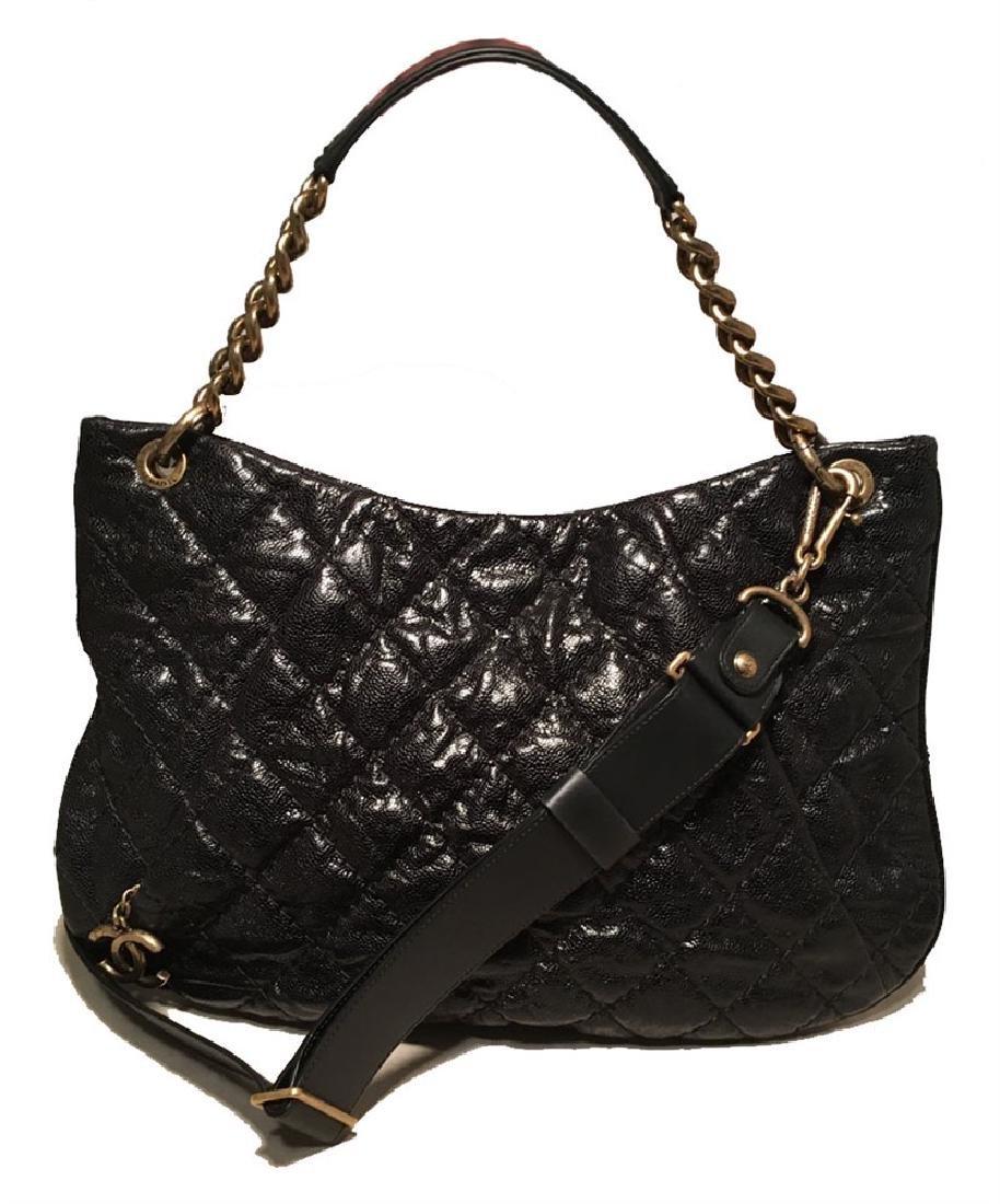 Chanel Black Quilted Caviar Leather Shoulder Bag
