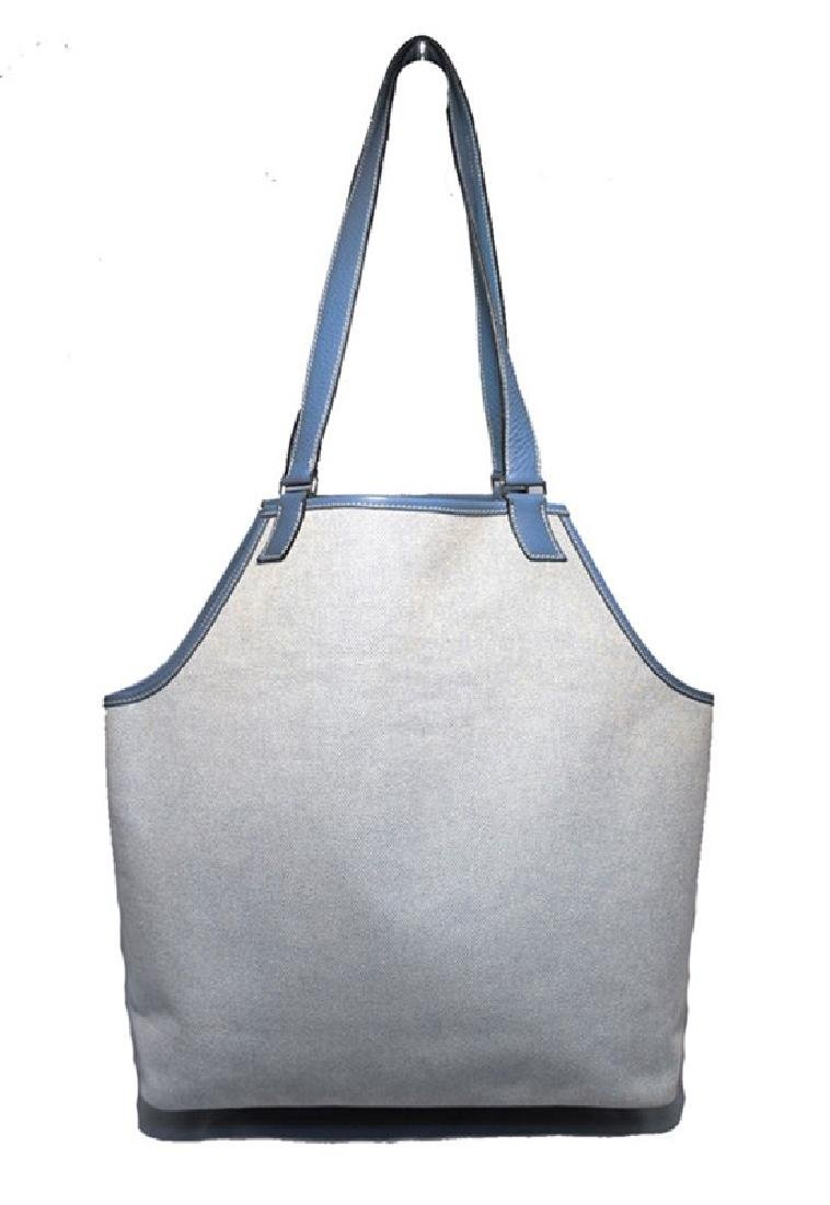 Hermes Canvas Toile and Blue Clemence Leather Shoulder - 2