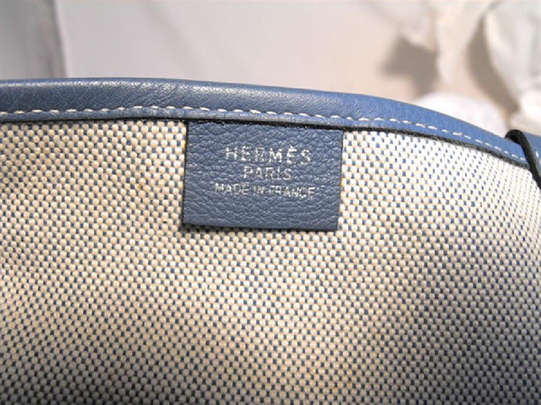 Hermes Canvas Toile and Blue Clemence Leather Shoulder - 6