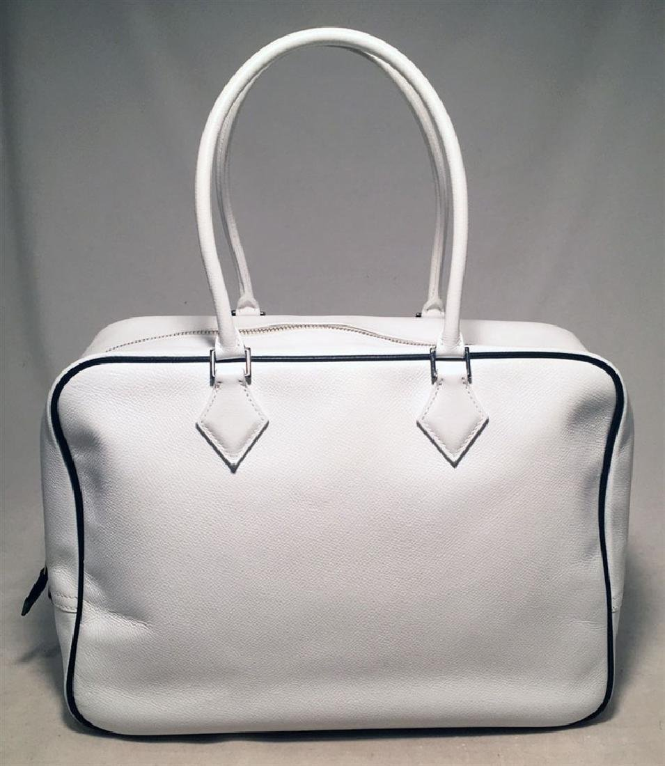 Hermes Black and White Veau Grain Leather Plume 32cm - 2