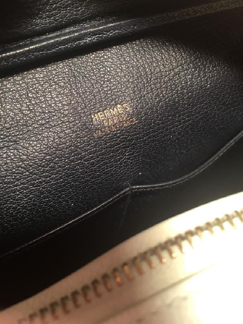 Hermes Black and White Veau Grain Leather Plume 32cm - 7