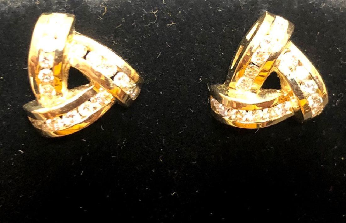 14 k yellow gold diamond earrings