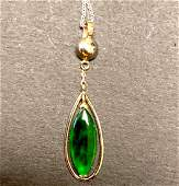 14 k white gold jade pendant circa 1960s 14k chain