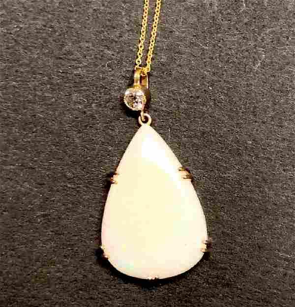 14 k yellow gold fire opal & diamond pendant