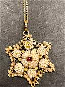 10 k yellow gold seed pearl & ruby victorian pendant