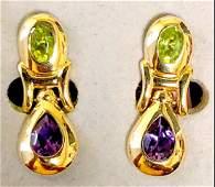 18 k yellow gold amethyst & peridot earrings