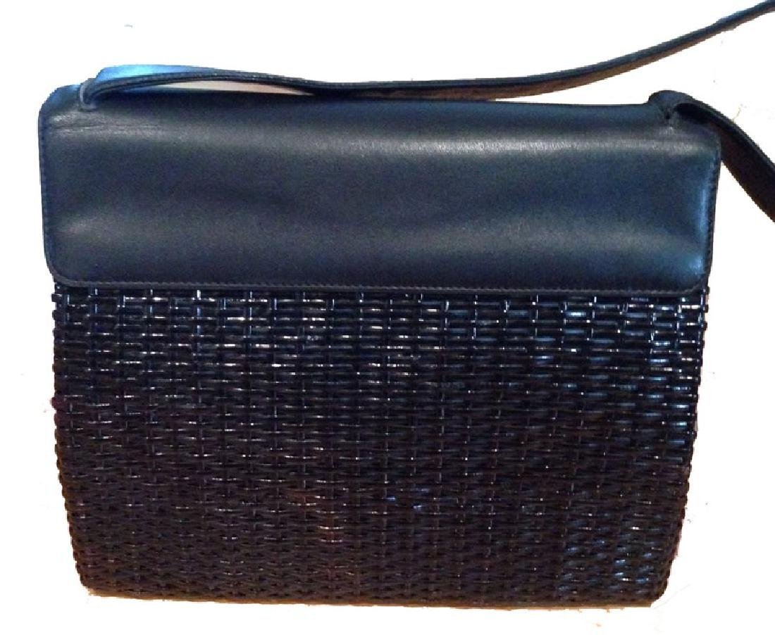Chanel Black Wicker Rattan and Leather Shoulder Bag - 2