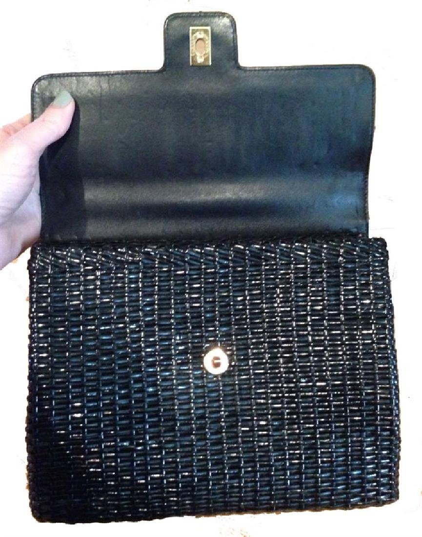 Chanel Black Wicker Rattan and Leather Shoulder Bag - 4