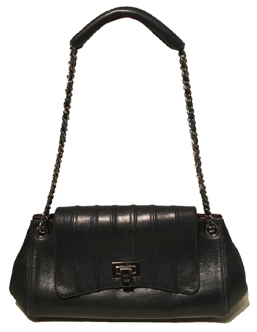 Chanel Black Leather Pleated Top Flap Classic Shoulder - 3