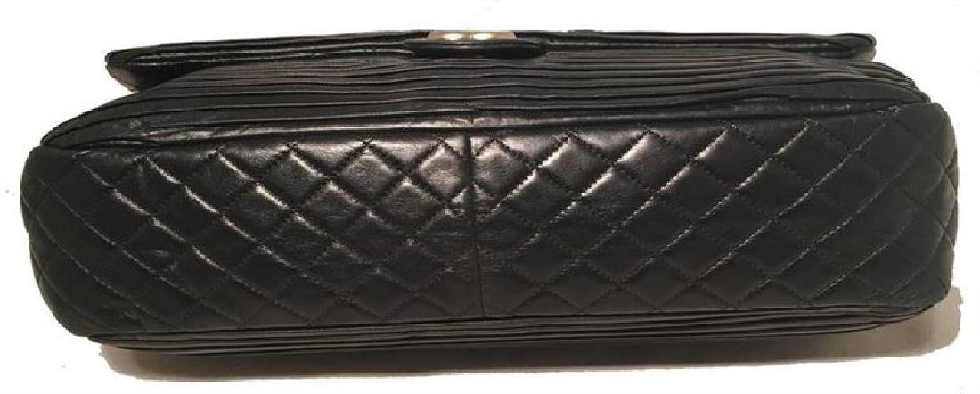 Chanel Black Pleated Leather Classic Flap Shoulder Bag - 5
