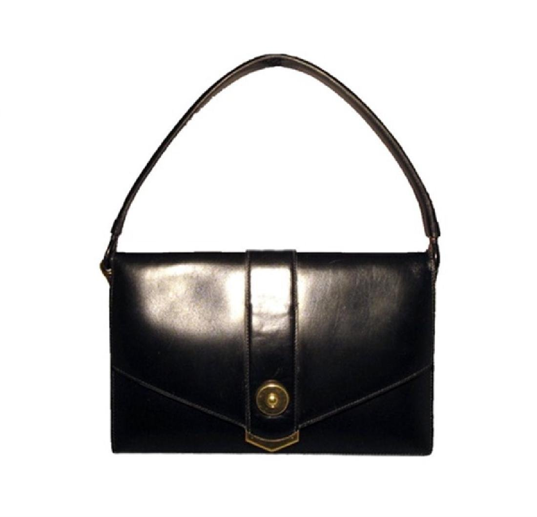 Vintage Hermes 1960's Black Leather Snap Handbag