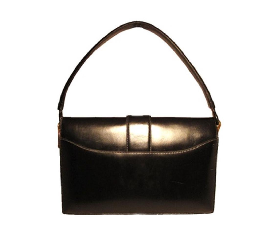 Vintage Hermes 1960's Black Leather Snap Handbag - 2
