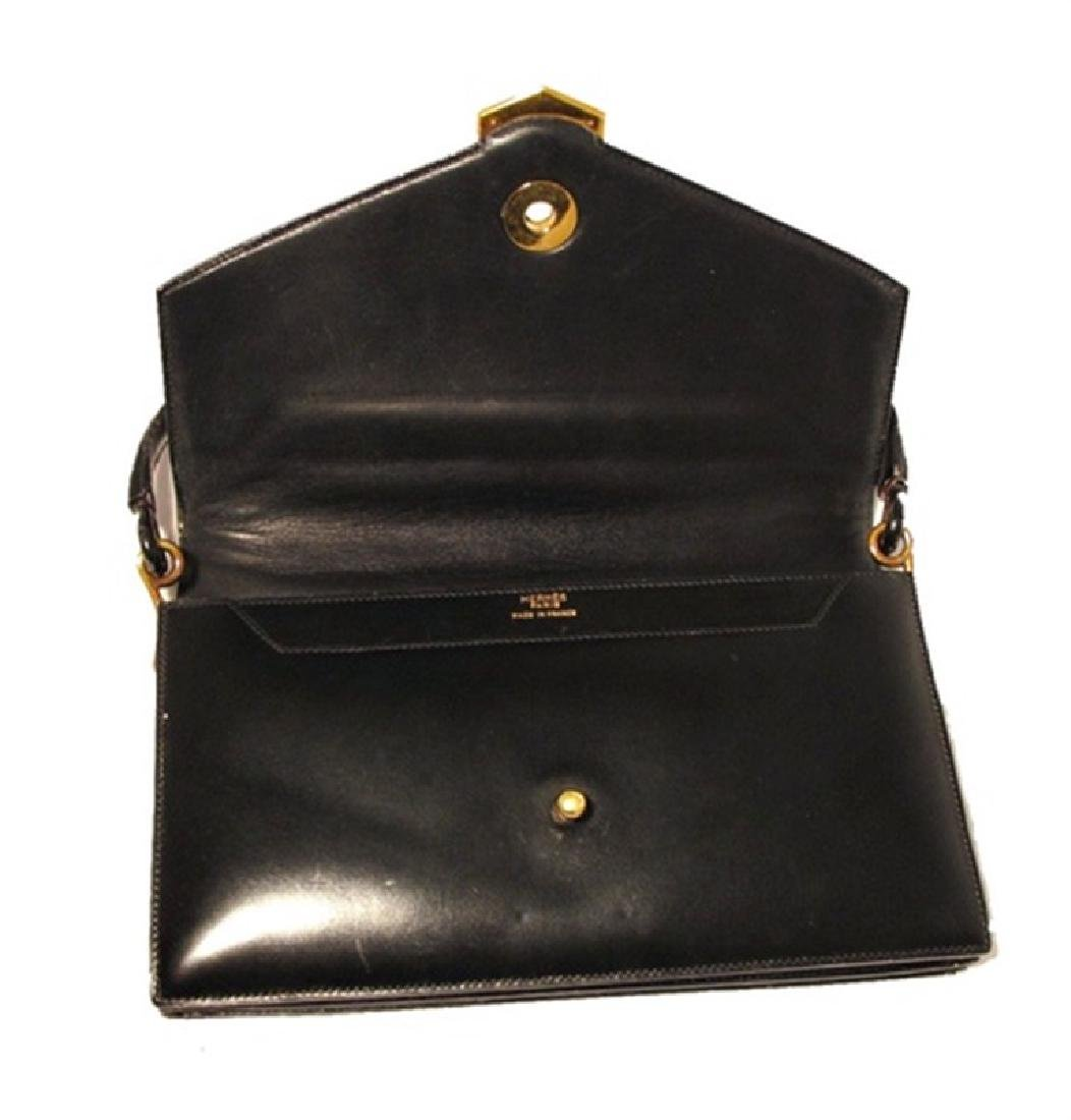 Vintage Hermes 1960's Black Leather Snap Handbag - 3