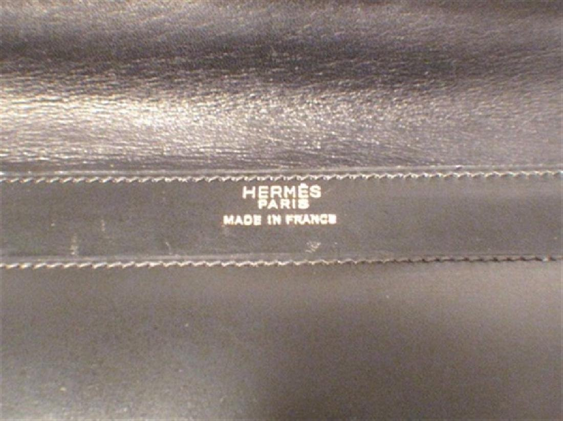 Vintage Hermes 1960's Black Leather Snap Handbag - 5