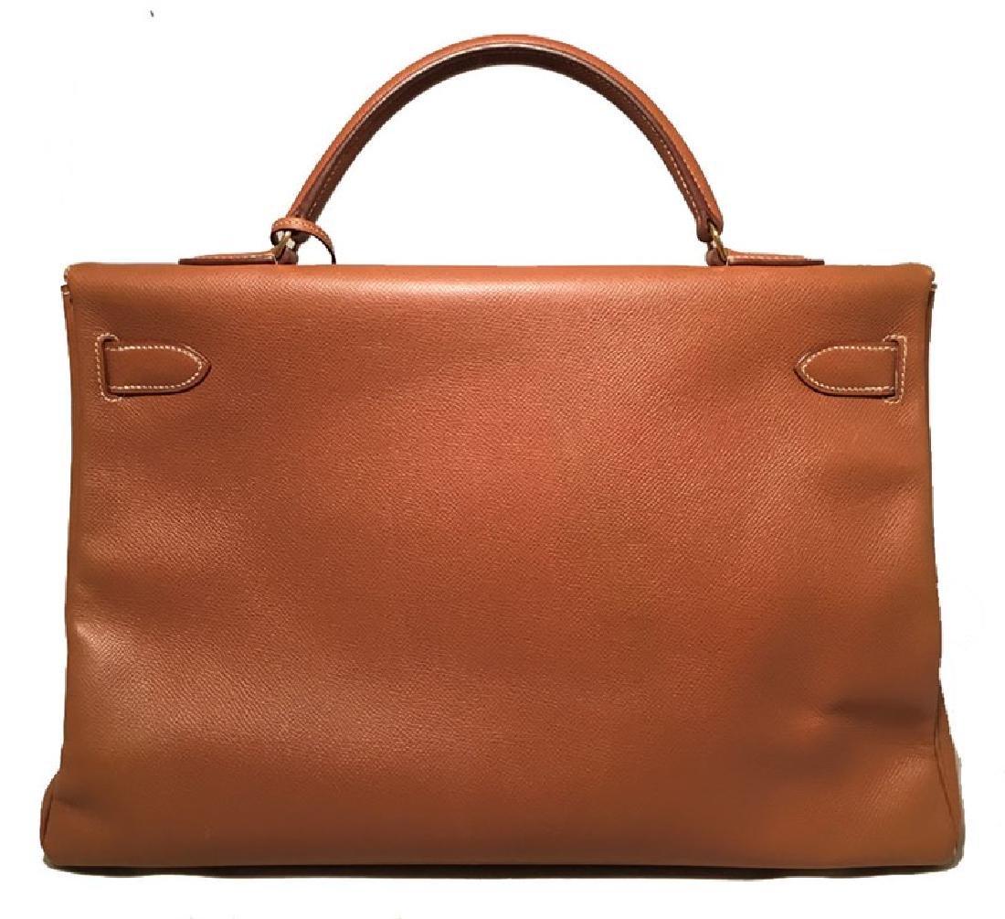 Hermes Tan Veau Graine 40 cm Kelly Bag with Strap - 2