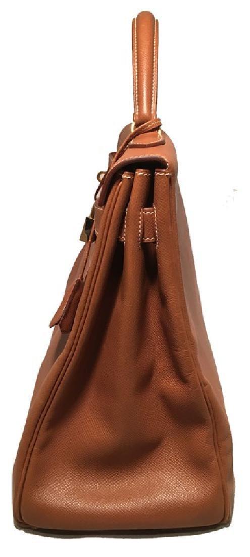 Hermes Tan Veau Graine 40 cm Kelly Bag with Strap - 3