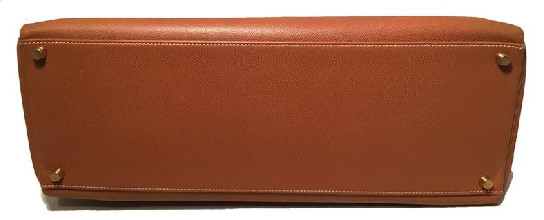 Hermes Tan Veau Graine 40 cm Kelly Bag with Strap - 4