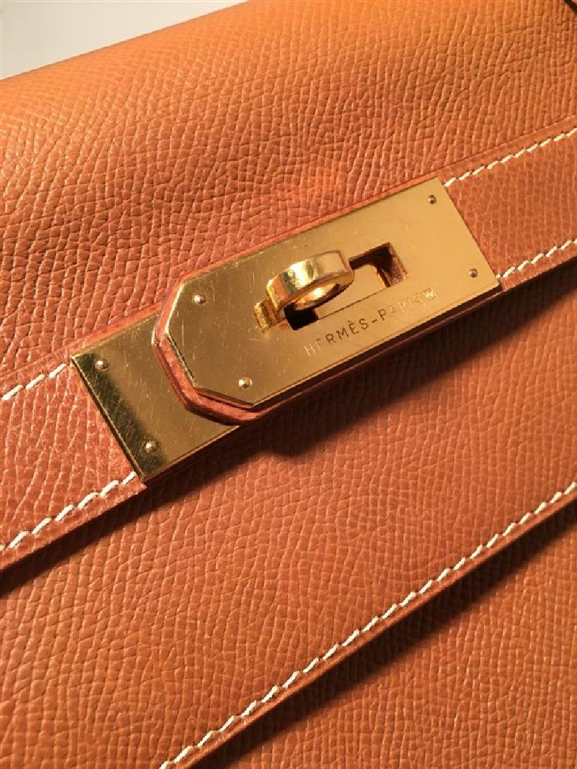 Hermes Tan Veau Graine 40 cm Kelly Bag with Strap - 9