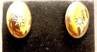 10 k yellow gold victorian diamond cufflinks