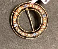 14 k yellow gold sapphire + enamel arts & crafts brooch