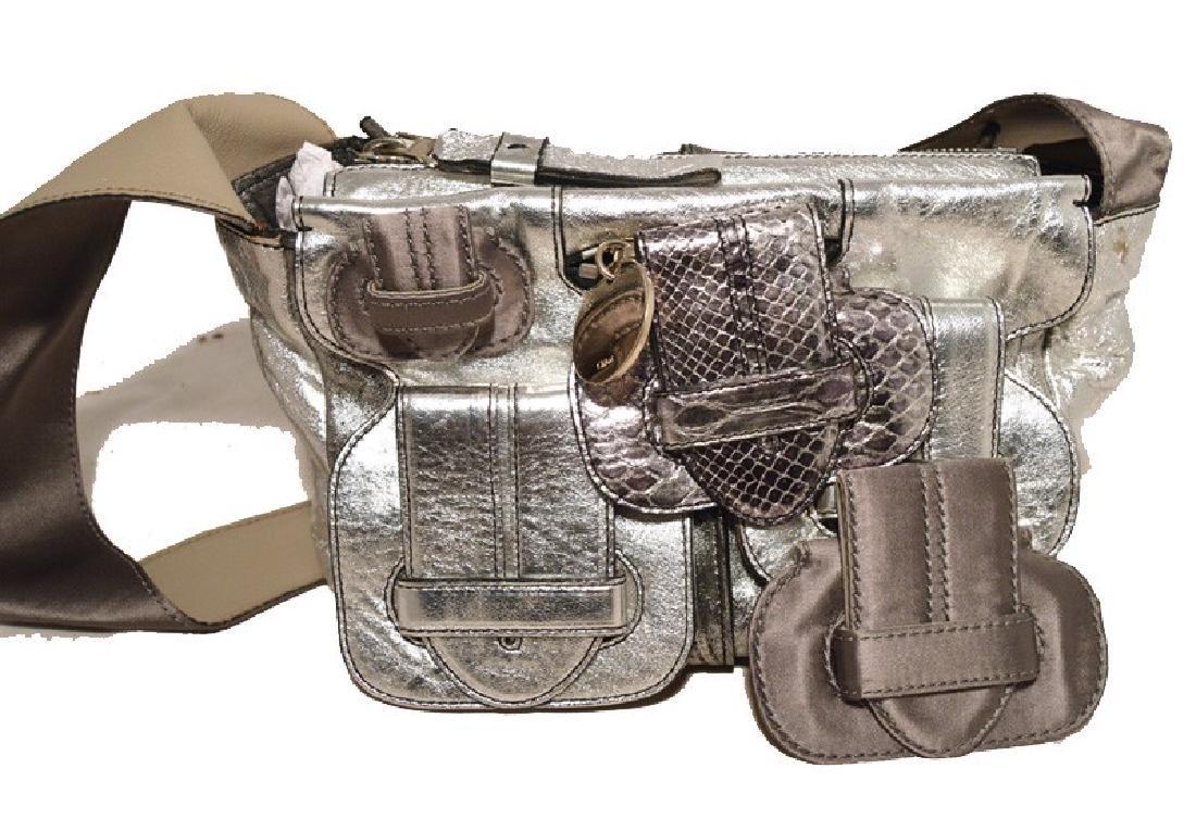 Chloe Silver Leather Satin Snakeskin Buckle Shoulder - 2