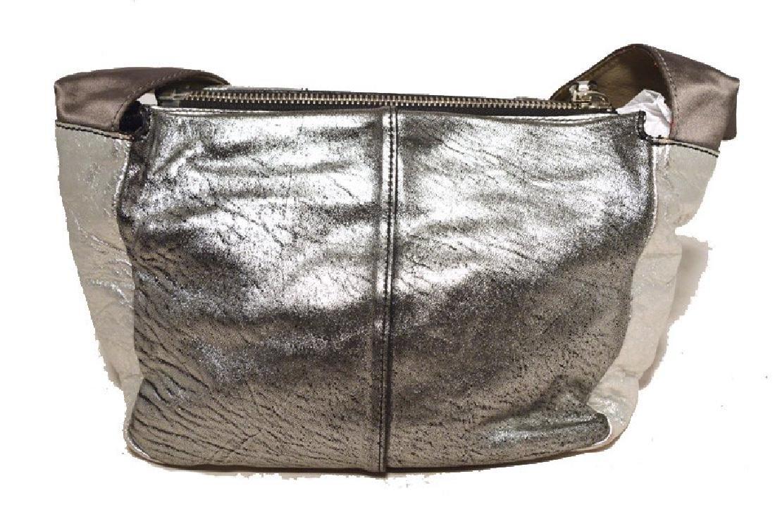Chloe Silver Leather Satin Snakeskin Buckle Shoulder - 3