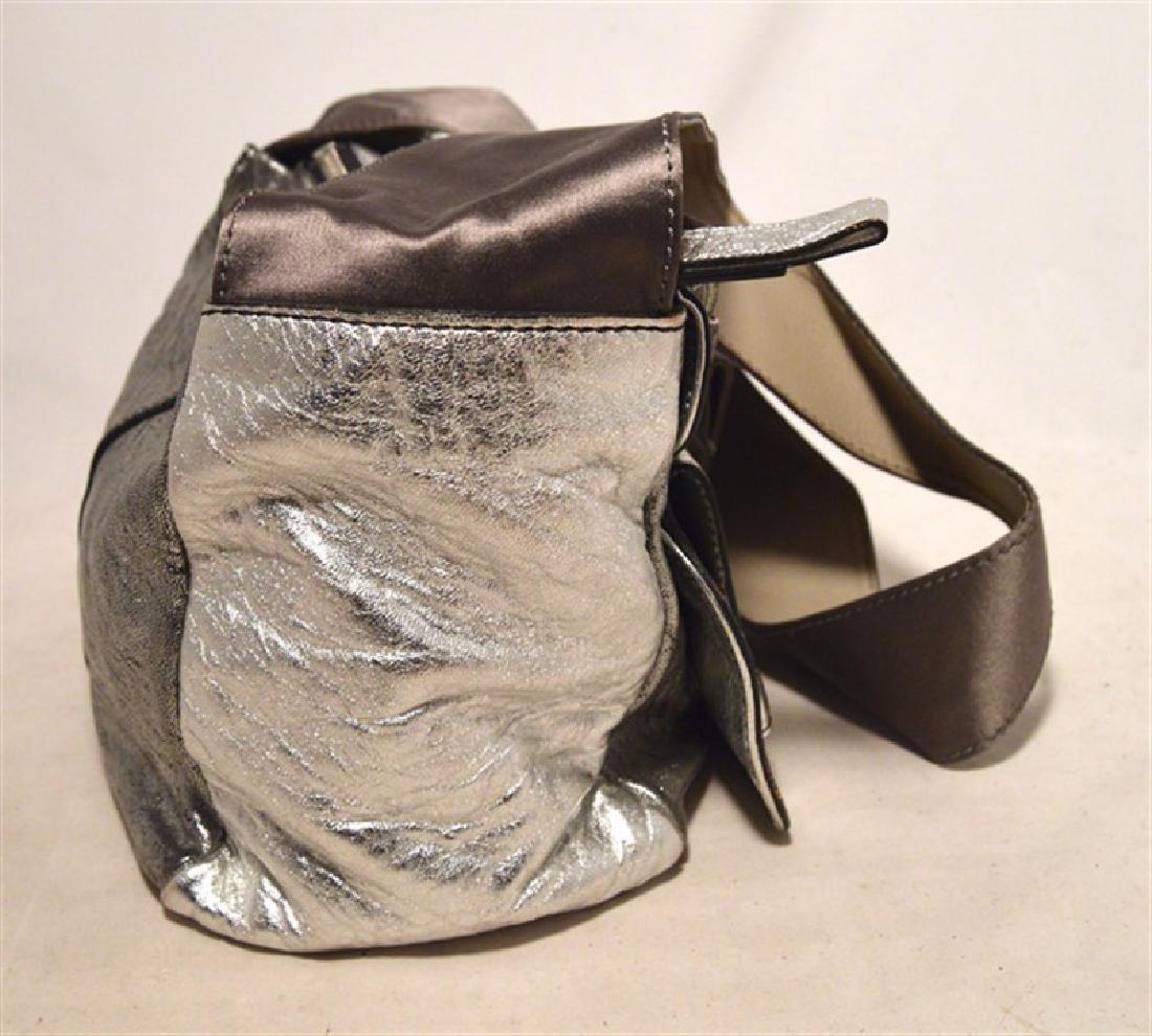 Chloe Silver Leather Satin Snakeskin Buckle Shoulder - 5