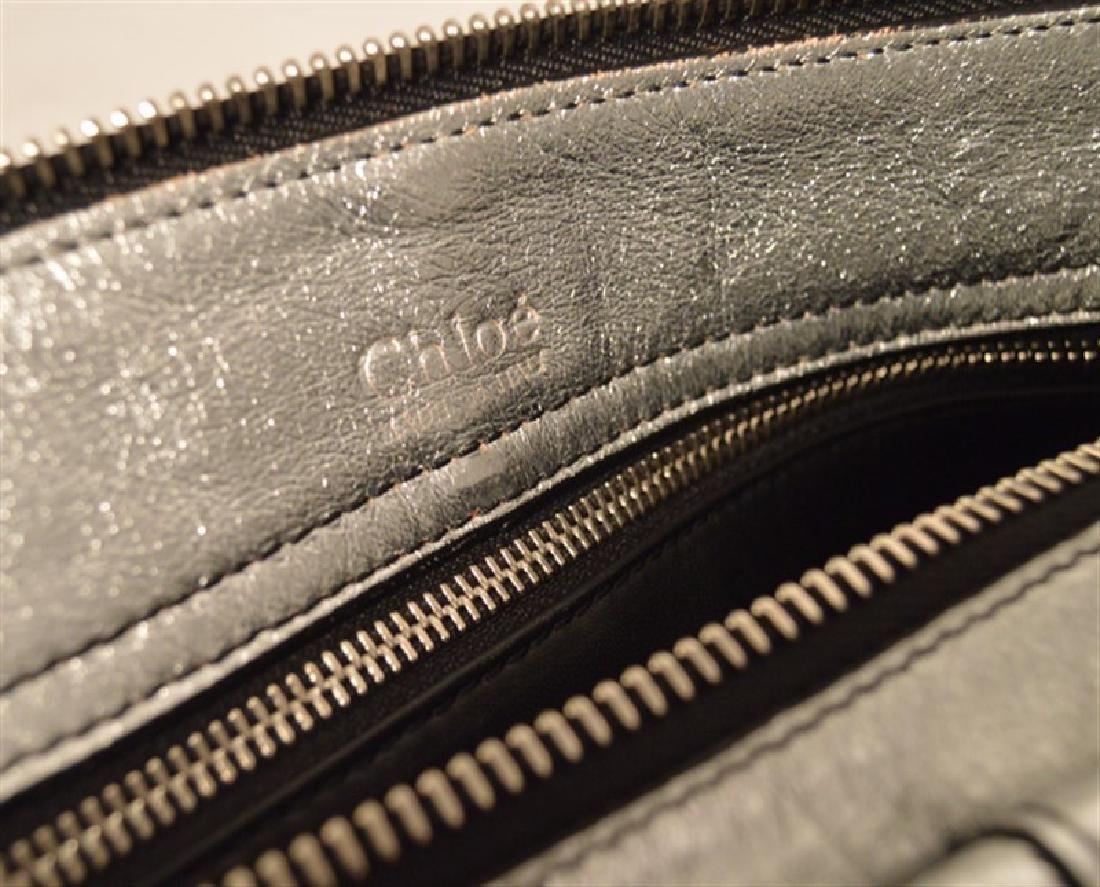 Chloe Silver Leather Satin Snakeskin Buckle Shoulder - 6