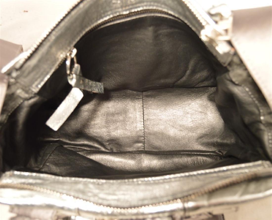 Chloe Silver Leather Satin Snakeskin Buckle Shoulder - 7