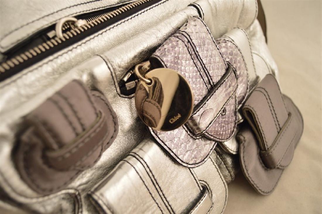Chloe Silver Leather Satin Snakeskin Buckle Shoulder - 8