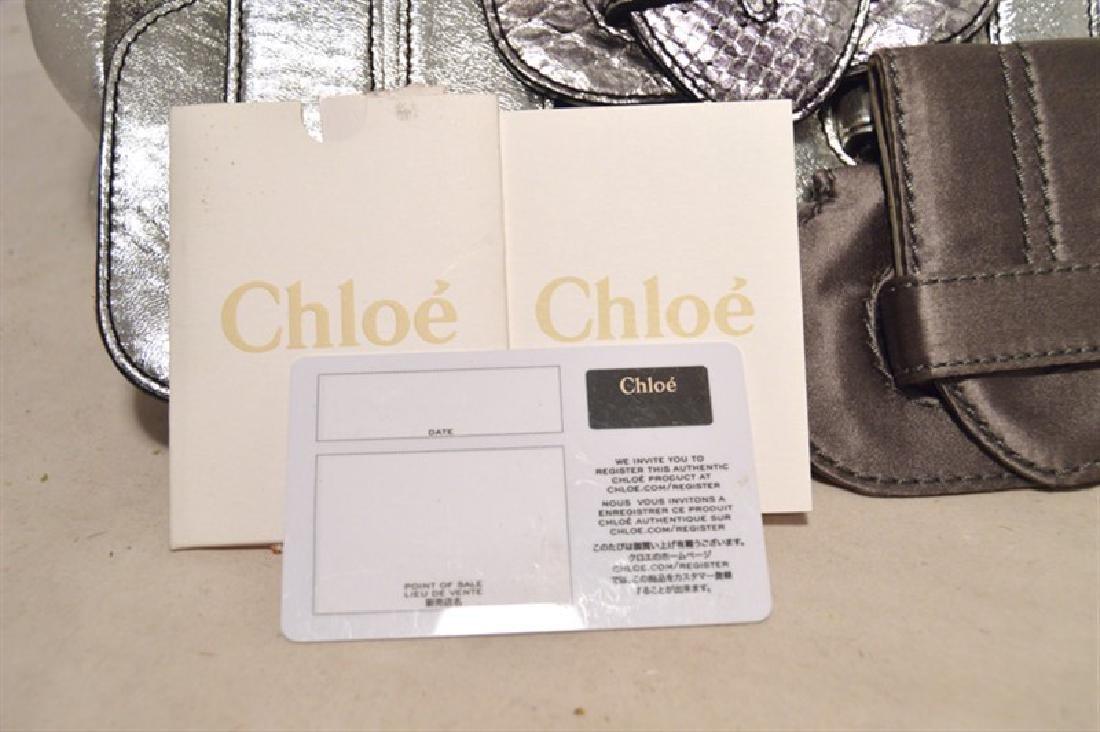 Chloe Silver Leather Satin Snakeskin Buckle Shoulder - 9