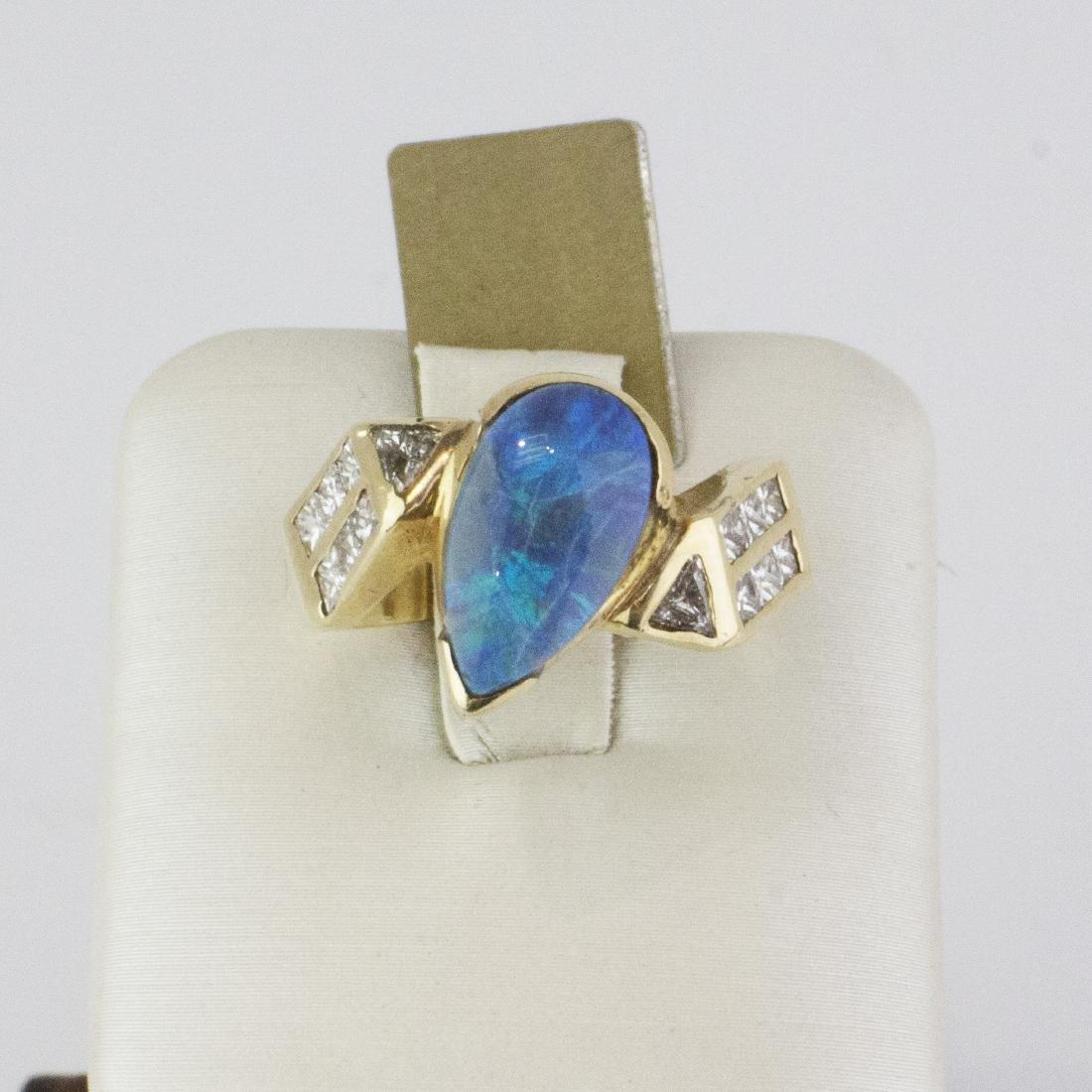 14K Yellow Gold Austrian Opal Diamond Ring