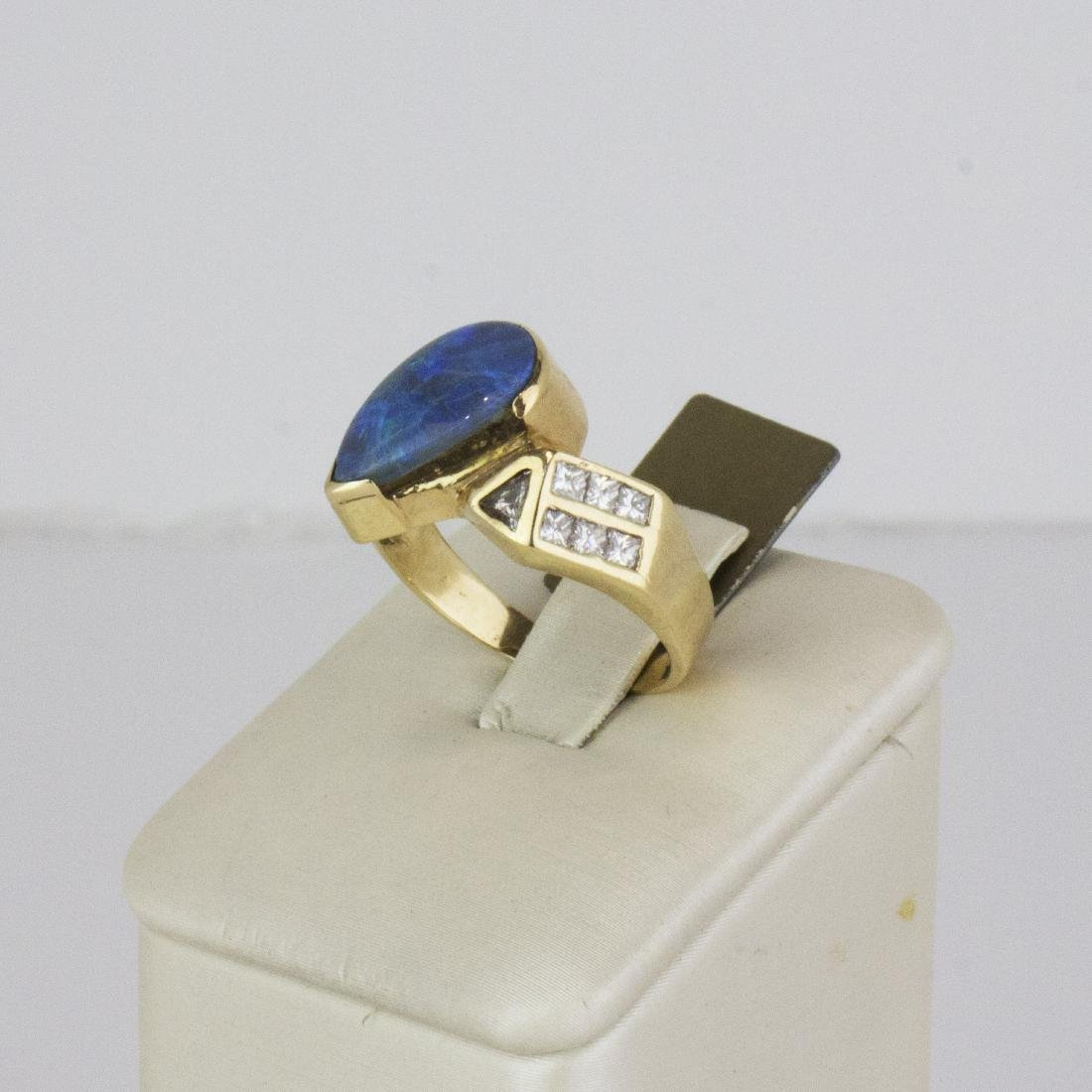 14K Yellow Gold Austrian Opal Diamond Ring - 2