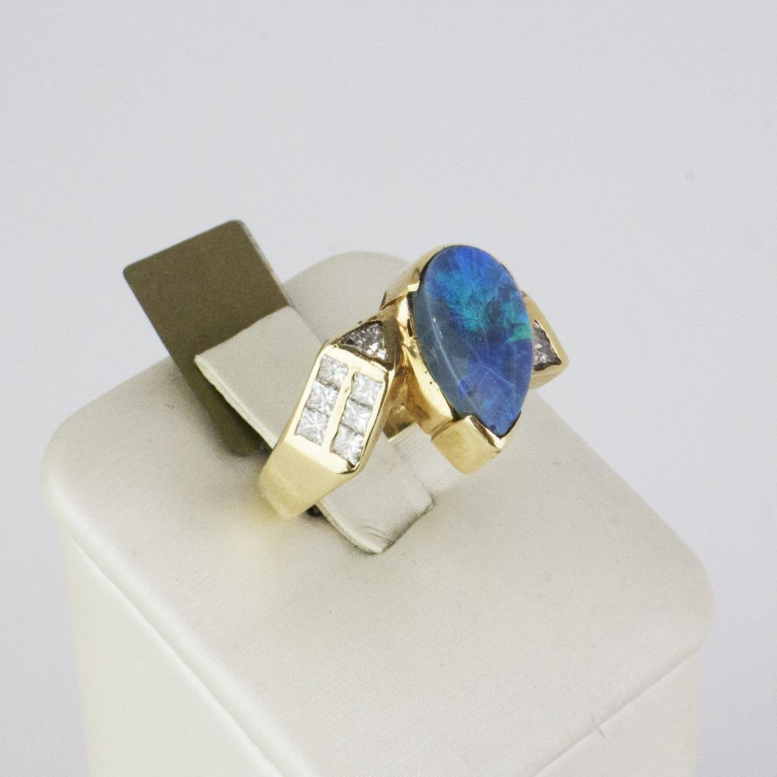 14K Yellow Gold Austrian Opal Diamond Ring - 3