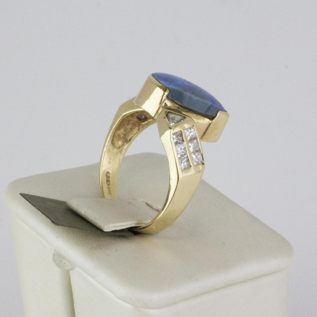 14K Yellow Gold Austrian Opal Diamond Ring - 4