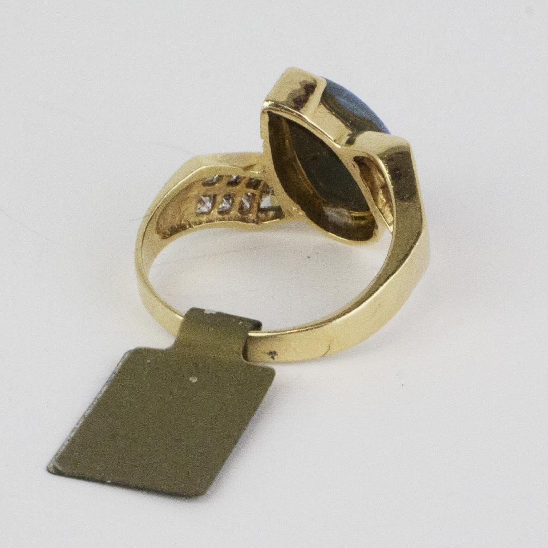 14K Yellow Gold Austrian Opal Diamond Ring - 5