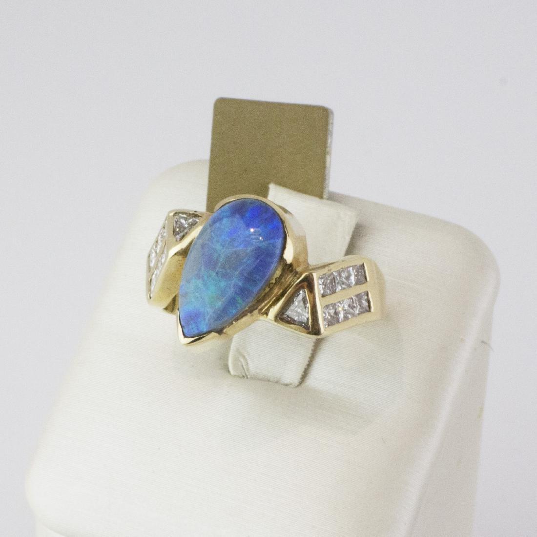 14K Yellow Gold Austrian Opal Diamond Ring - 6
